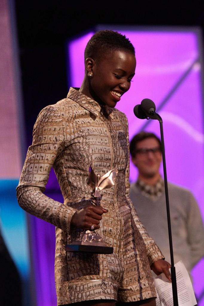 SANTA MONICA, CA - MARCH 01: Actress Lupita Nyong'o onstage during the 2014 Film Independent Spirit Awards at Santa Monica Beach on March 1, 2014 in Santa Monica, California. (Photo by Randall Michelson/WireImage)