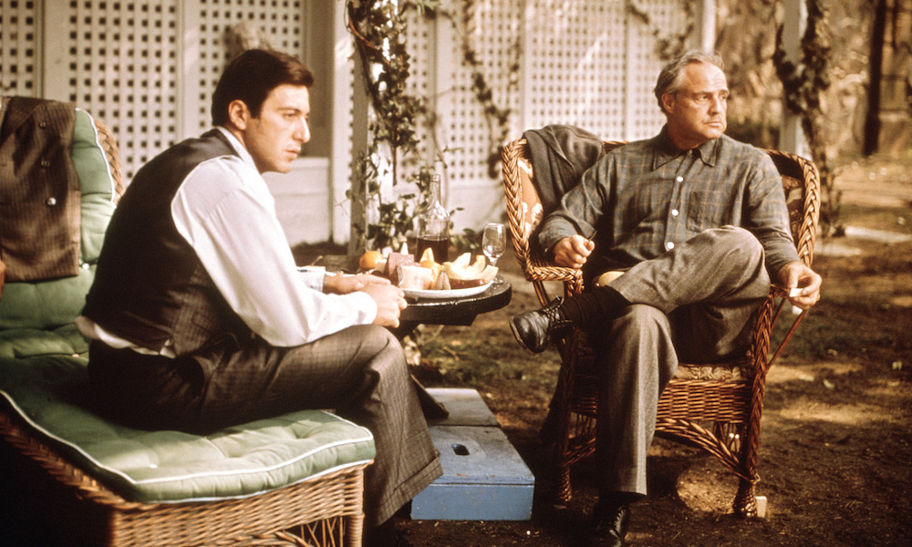 Al Pacino and Marlon Brando in The Godfather