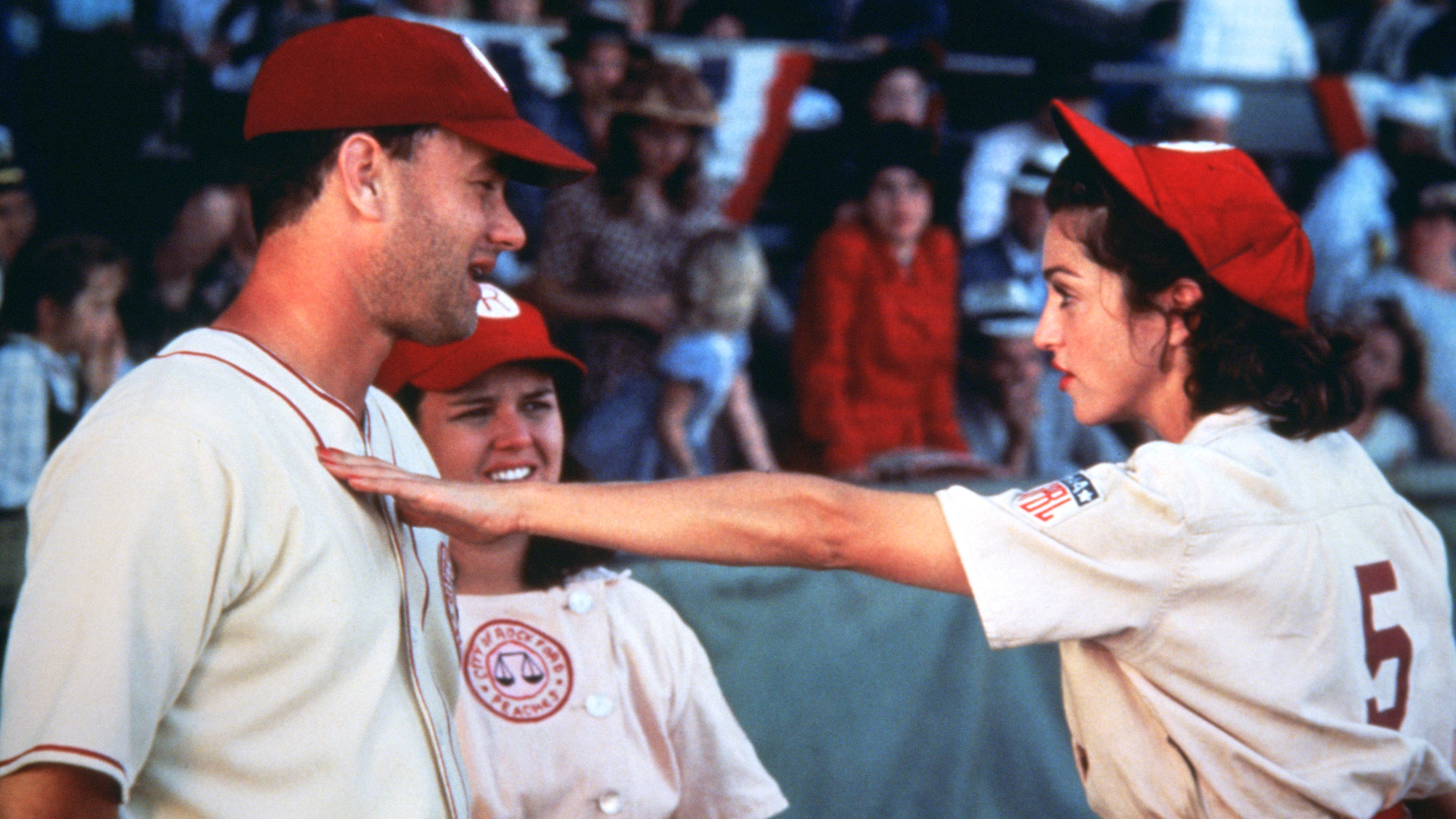 Tom Hanks, Rosie O'Donnell and Madonna in A League of Their Own