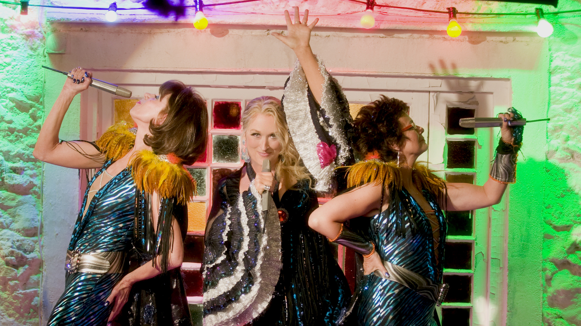 Meryl Streep, Christine Baranski and Julie Walters perform an ABBA song in costume in Mamma Mia