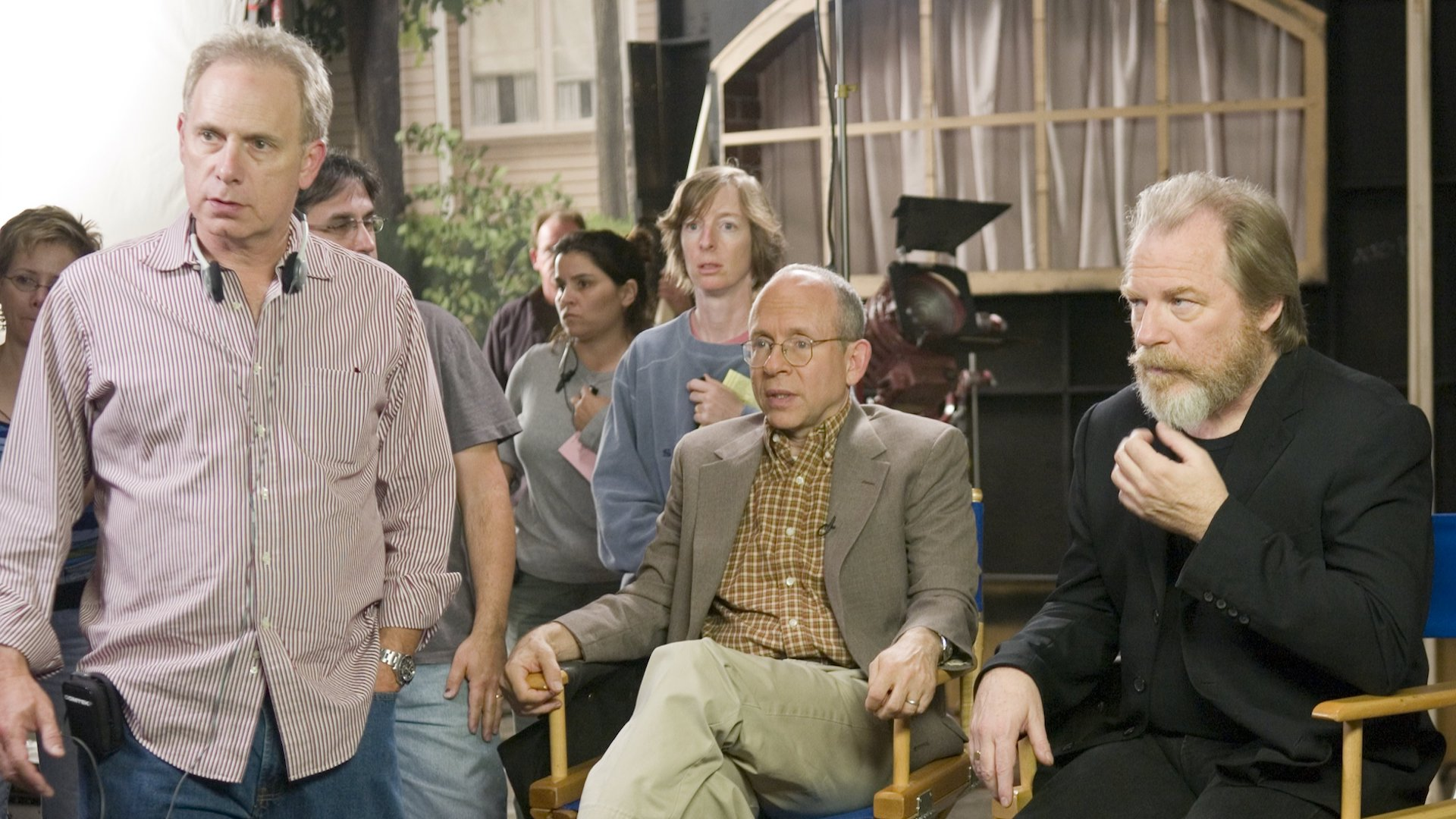 Christopher Guest (left) Bob Balaban (centre) and Michael McKean (right) on the set of For Your Consideration.