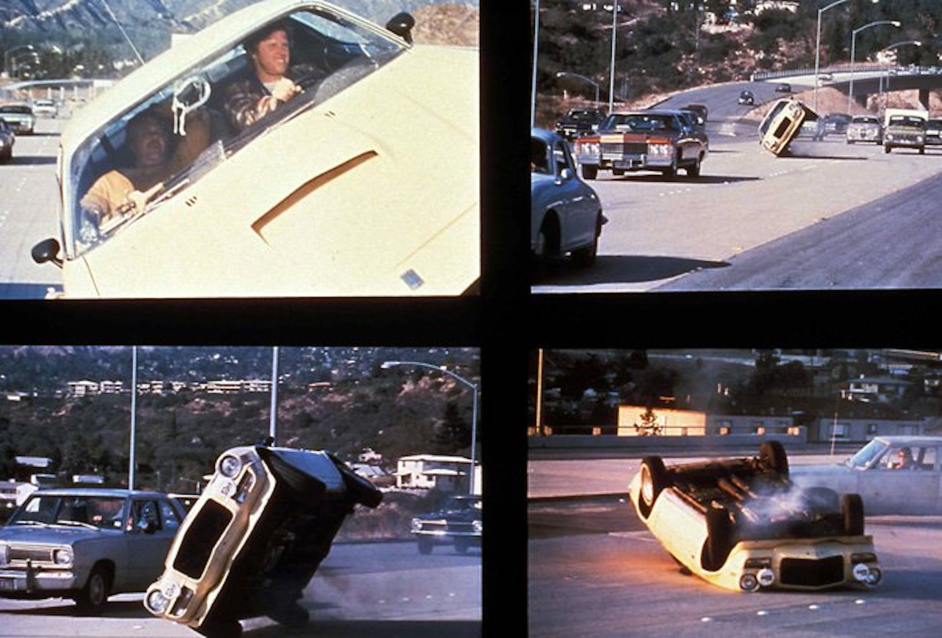 Collage of four images showing a car flipping over on its side during a stunt in The Gumball Rally