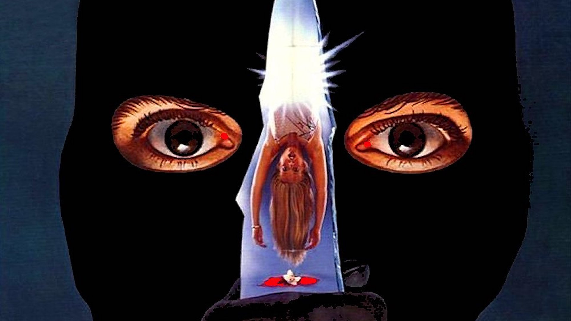 Prom Night (1980) poster detail - illustration of a man in a ski mask holding a knife in front of his face. a female body and blood is visible in the knife's reflection