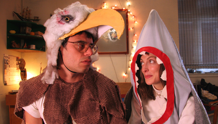 Jemaine Clement dressed as an eagle and Loren Horsley dressed as a shark in Taika Waititi's Eagle Vs. Shark