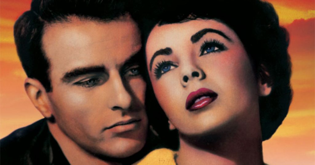Montgomery Clift and Elizabeth Taylor embrace in the poster for A Place in the Sun