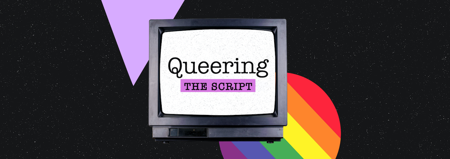 Queering the Script Logo on a vintage tv with a pride rainbow icon and a pink triangle