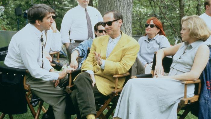 Sam Waterston, John Waters and Kathleen Turner behind the scenes while filming Serial Mom