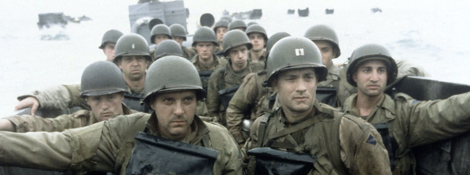 American soldiers on a WWII D-Day lander in Saving Private Ryan