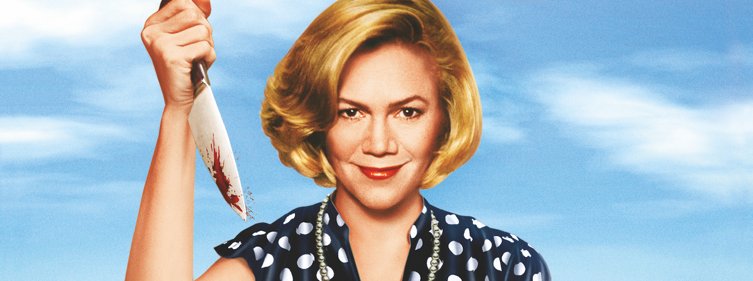 Kathleen Turner holds a bloodied knife in the poster art from Serial Mom