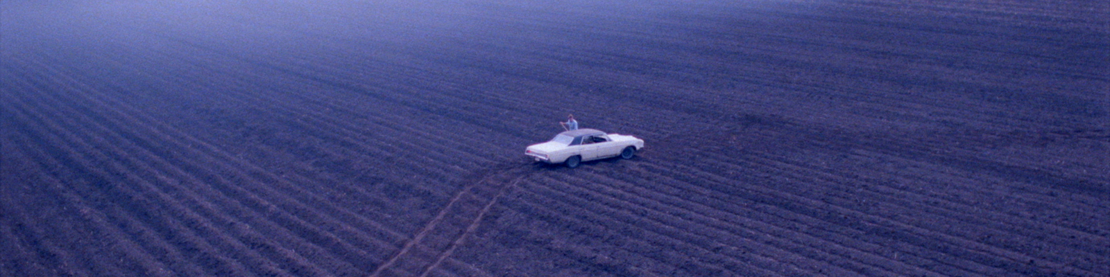 Aerial view of a man standing beside a car in a plowed field
