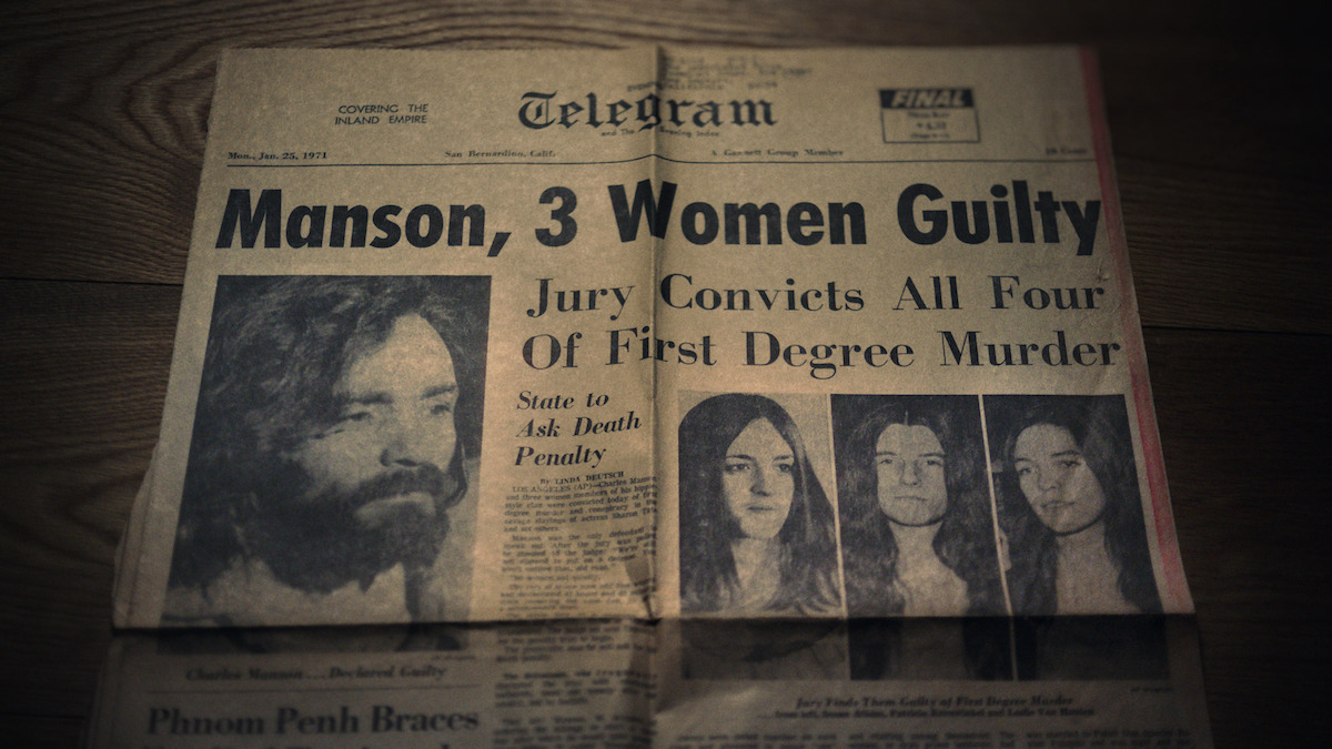 """San Bernardino Telegram newspaper front page for January 25, 1971. Headline reads """"Manson, 3 Women Found Guilty – Jury Convicts All Four of First Degree Murder – State to Ask Death Penalty"""""""