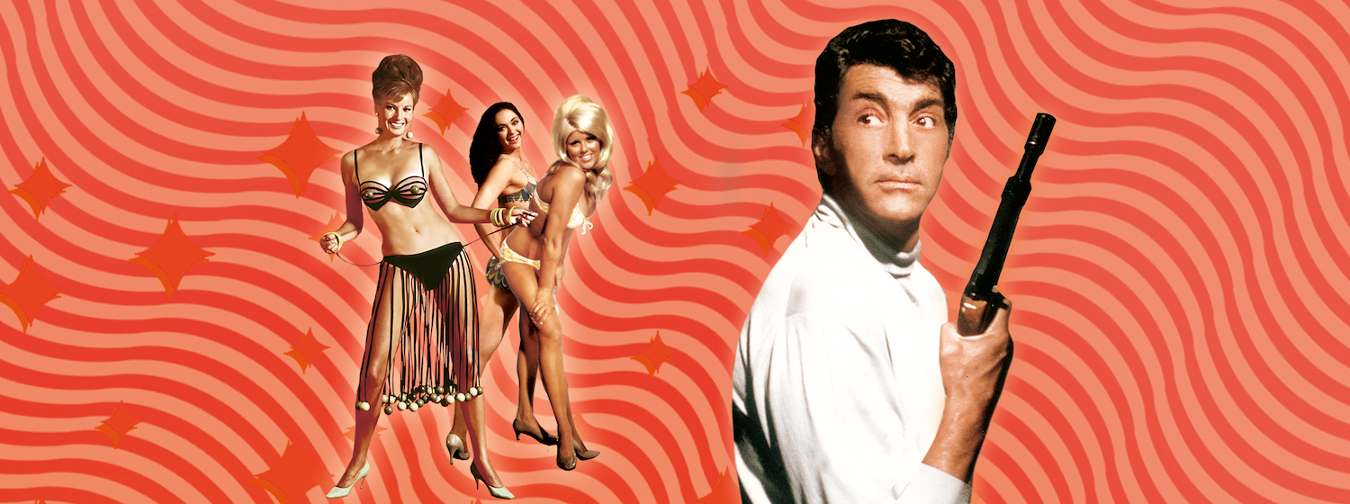 Key art from Murderers Row (1968) featuring cut outs of Dean Martin holding a gun and bikini clad women on a psychedelic background